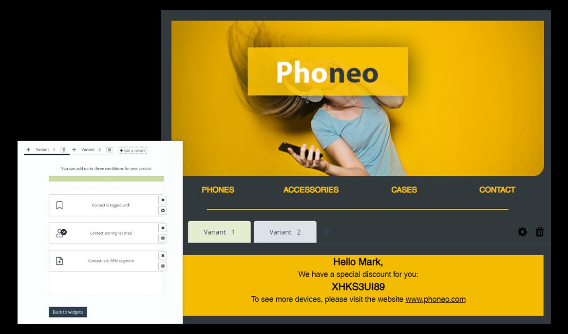 [Nueva funcionalidad] Contenidos condicionales: personaliza algunos de los widgets y las secciones de mensajes e-mail dirigidos a los segmentos de clientes elegidos o a algunas personas en concreto